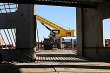 Crane framed by the loading dock
