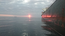 Bulk Carrier at sunset