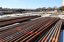 Stack of tubular steel cantilever supports for tilt walls.
