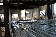 Steel subfloor before concrete is poured