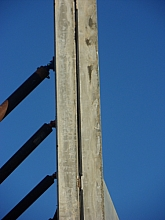 Edge view of tilt wall showing buttress supports